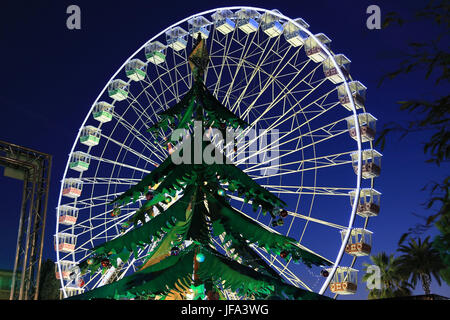 Ferris wheel in Nice at Christmas time - Stock Photo