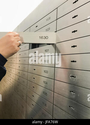 Open locker in a vault of a bank - Stock Photo