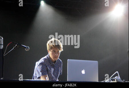 Milwaukee, Wisconsin, USA. 29th June, 2017. Electronic artist Pluto performs live at Henry Maier Festival Park during - Stock Photo