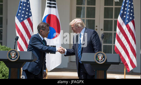 Washington DC, USA. 30th June, 2017. President Donald J Trump holds a joint Press Conference with South Korean President - Stock Photo