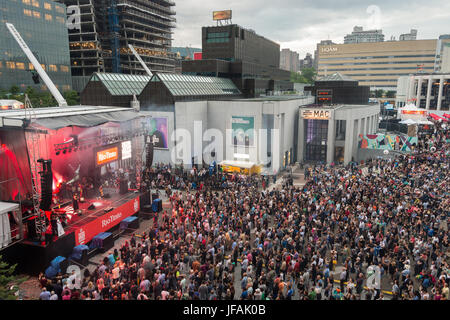 Montreal, CANADA - 30 June 2017: Place Des Arts during Kat Wright performance at Jazz Festival. - Stock Photo