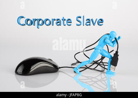 Male figurine dragging a computer mouse across white table. Corporate slavery concept with 3d text and copy space - Stock Photo