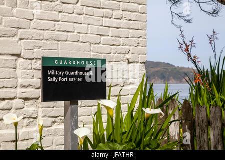 Sign at Military Guardhouse and Sally Port at Alcatraz penitentiary, San Francisco, California, USA - Stock Photo
