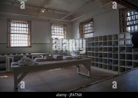 Laundry room in Alcatraz penitentiary, San Francisco, California, USA - Stock Photo