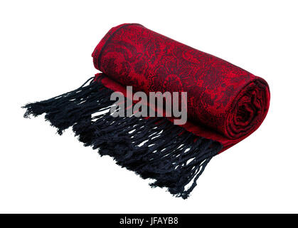 Traditional paisley pattern warm red cashmere pashmina isolated on white - Stock Photo