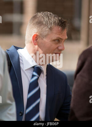 PC Keith Burgess arrives at Guildford Crown Court in Guildford, to be sentenced for misconduct in public office. - Stock Photo