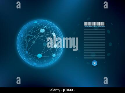 Infographic sphere with connected dots and lines. - Stock Photo