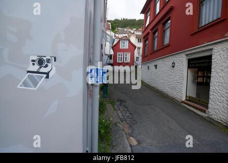 Graffiti on a wall in a back street in Bergen, Norway. - Stock Photo