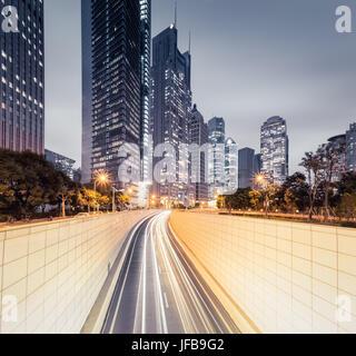 modern city night view in shanghai - Stock Photo