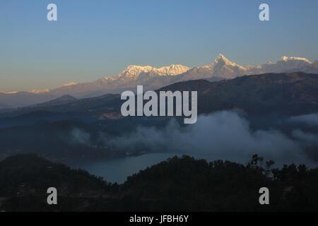 Sunrise at lake Begnas Tal, Annapurna range - Stock Photo