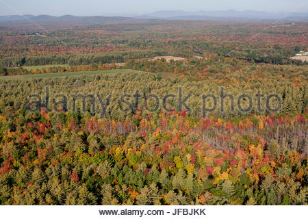Aerial view of fall colors near the town of Madison in central Maine. - Stock Photo