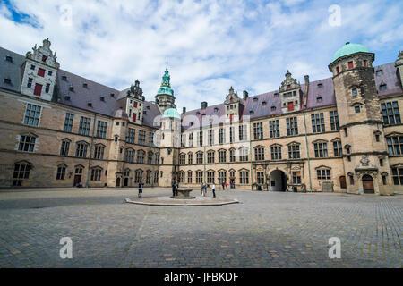 Inner yard in the Unesco world heritage sight Kronborg renaissance castle, Helsingor, Denmark - Stock Photo
