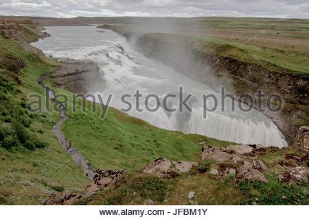 A scenic view of Gullfoss Waterfall. - Stock Photo