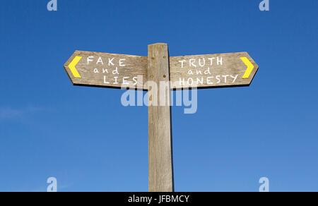 Conceptual Signpost - Fake News - Stock Photo