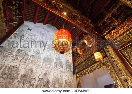 Inside the Khoo Kongsi Clan House in Georgetown on Penang Island. - Stock Photo