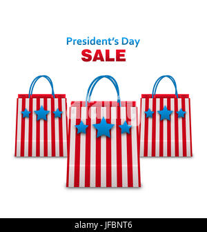 Illustration Set Shopping Bags in USA Patriotic Colors for Presidents Day Sale. Isolated on White Background - - Stock Photo