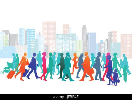 cityscape with people - Stock Photo