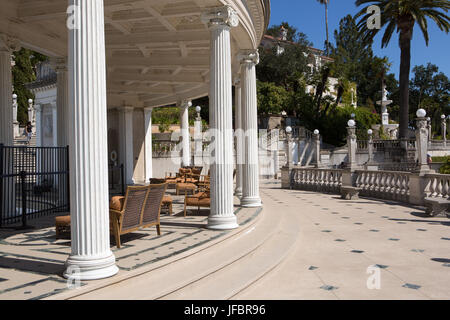 A view of the sitting area and veranda near the Neptune Pool at Hearst Castle. - Stock Photo