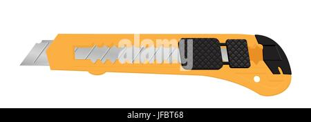 vector illustration of realistic box cutter knife isolated on white background - Stock Photo