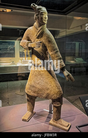 The famous Standing Archer unearthed in Pit 2 of the Terracotta Army.  Xian, Shaanxi province, China - Stock Photo