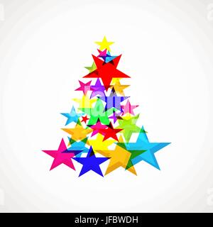 Background with Christmas tree made up of colored stars - Stock Photo