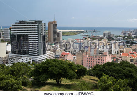 View of the capital city of Port Louis from the Citadel Fort Adelaide. - Stock Photo