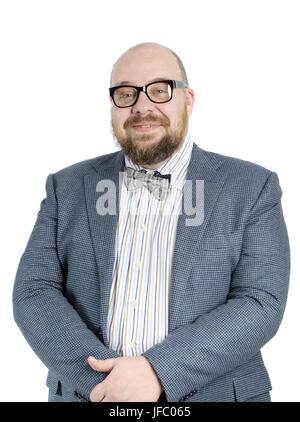 Smiling bearded man in a full jacket. - Stock Photo