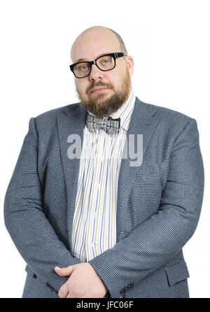 Bald bearded man in a bow tie and jacket. - Stock Photo