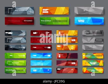 Set of horizontal web banners with multicolored polygonal abstract background. A template with a button and various - Stock Photo