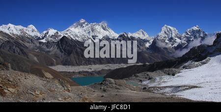 Stunning view from Renjo La mountain pass - Stock Photo
