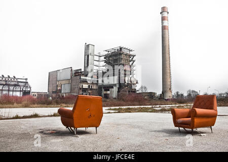 An abandoned industrial site in Fusina near Venice, Italy. - Stock Photo