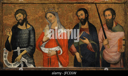 Pere Serra (active in Barcelona between 1357-1405/1408). Panel depicting Saint John the Baptist, Saint Mary Magdalene, - Stock Photo