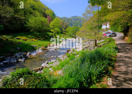 Lynmouth Devon walk to Watersmeet along the river Lyn in summer view in direction of town - Stock Photo