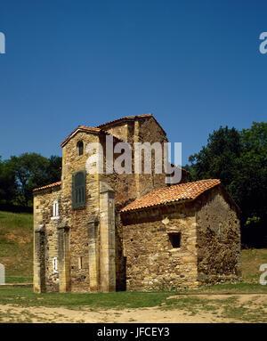 Church of St. Michael of Lillo. Asturian pre-Romanesque. 9th century. Exterior. Oviedo. Asturias. Spain. - Stock Photo