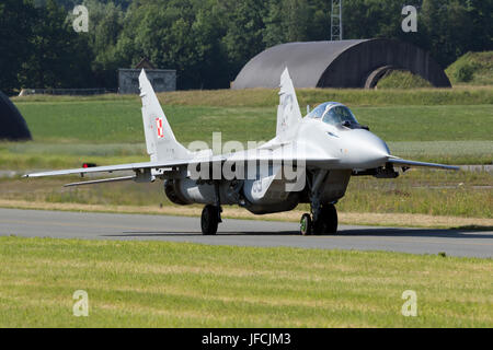 FLORENNES, BELGIUM - JUN 15, 2017: Polish Air Force MiG-29 Fulcrum fighter jet taxiing towards the runway. - Stock Photo