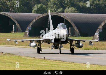FLORENNES, BELGIUM - JUN 15, 2017: Spanish Air Force Eurofighter Typhoon fighter jet taxiing towards the runway. - Stock Photo