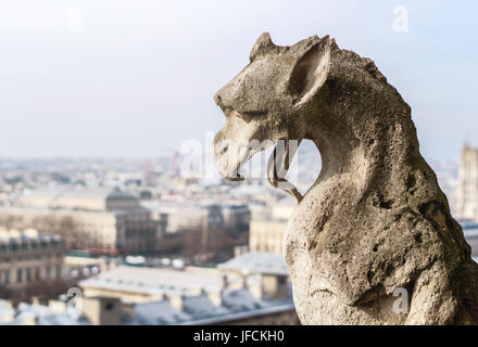 Close up of a chimera stone sculpture on the top of the Notre Dame cathedrale. Historical statue and beautiful view - Stock Photo