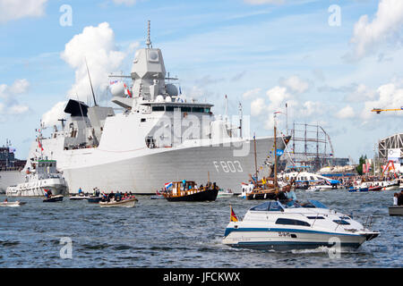 AMSTERDAM, THE NETHERLANDS - AUGUST 19: Dutch Navy frigate HNLMS Tromp arrives at Amsterdam Harbour for SAIL 2010 - Stock Photo