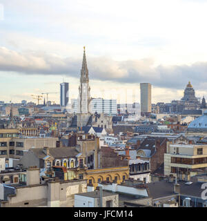 Brussels, aerial view with city buildings. - Stock Photo