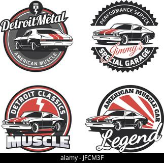 set of hot rod logo emblems and icons roadster and coupe