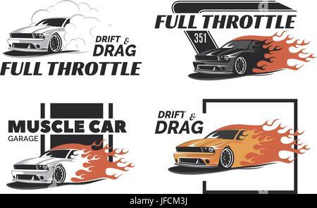 set of muscle car emblems and badges classic car tshirt