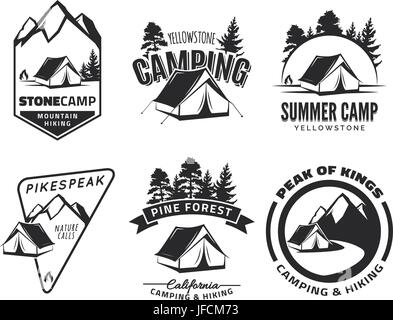 Set of vintage camping and outdoor adventure emblems, logos and badges. Tent in forest or mountains. Camping equipment. - Stock Photo