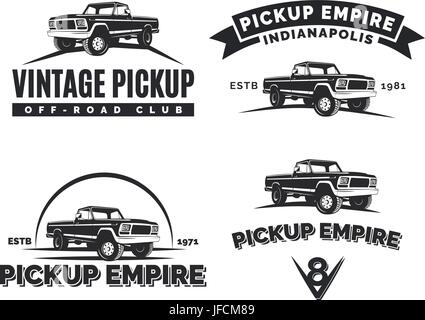 Set of suv pickup car vector emblems, labels and logos. Offroad extreme pickup design elements, 4x4 vehicle illustration. - Stock Photo