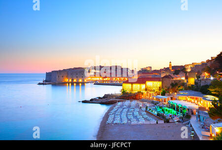 Panoramic view of Dubrovnik at sundown, Croatia - Stock Photo