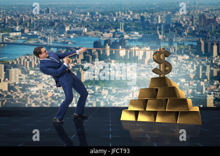 Businessman pulling dollar and gold bullions - Stock Photo