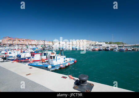 Fishing boats in the Port of Tarfia, Spain, Andalucia. - Stock Photo