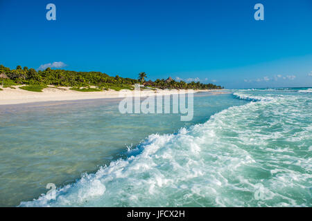 Caribbean beach panorama, Tulum, Mexico - Stock Photo