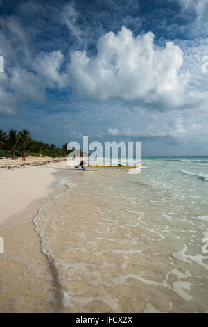Caribbean beach panorama, Tulum, Mexico - Stock Photo