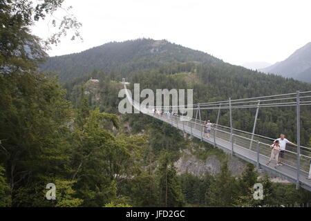 Suspension bridge Reutte Tirol, Highline 179 - Stock Photo