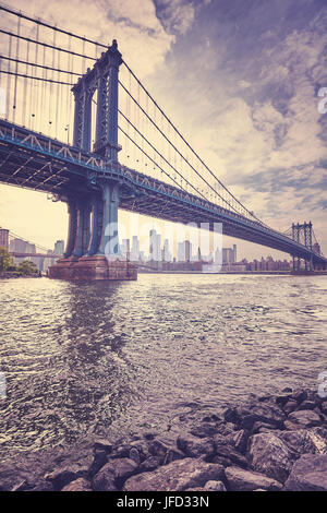 Vintage stylized picture of the Manhattan Bridge, New York City, USA. - Stock Photo